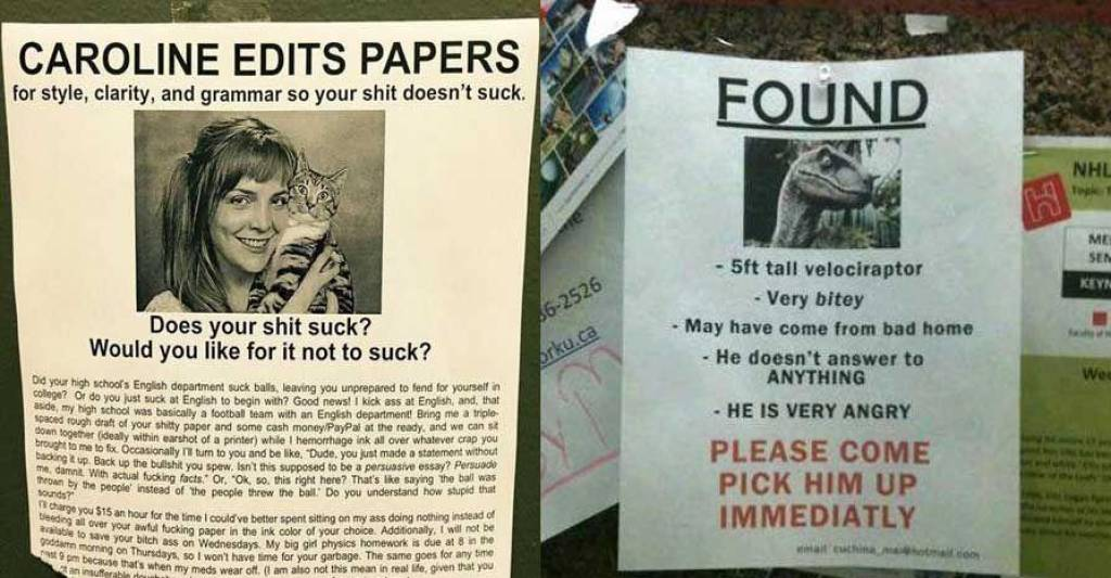 22 Hilarious Flyers Found on College Campuses